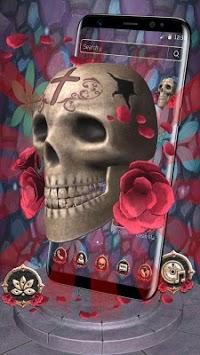 3D Skull Red Rose Theme pc screenshot 2