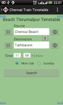 Chennai Local Train Timetable pc screenshot 2