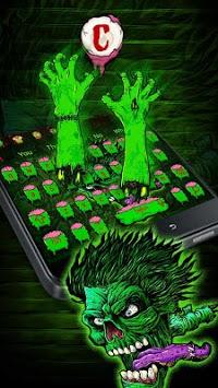 Green Zombie Skull Graffiti Keyboard  Theme pc screenshot 1